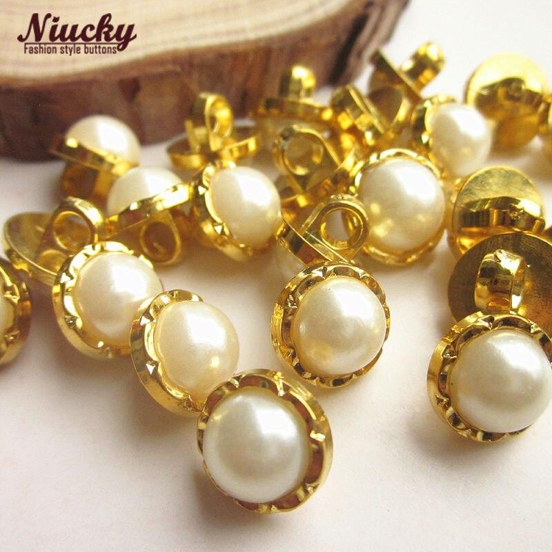 Niucky 11mm / 10mm Golden edge pearl women shirt buttons for sewing spring /summer sweater dress headwear accessories P0301d-003