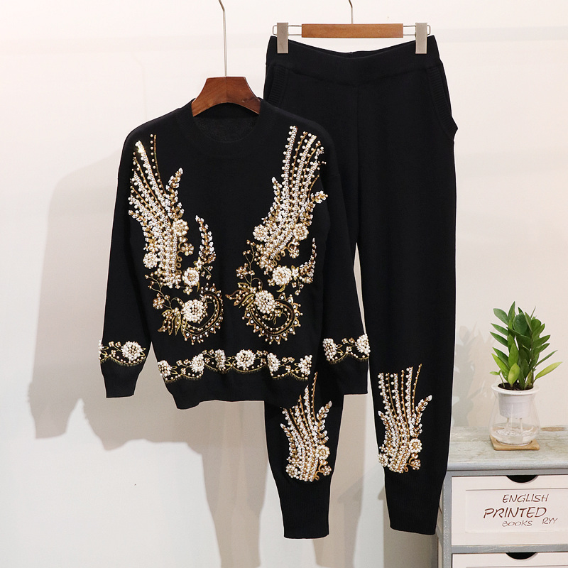 Sequin Bedding Sets Women Pullovers Trousers Spring Long Sleeve Knit Sweater Tops Knitted Harem Pants 2