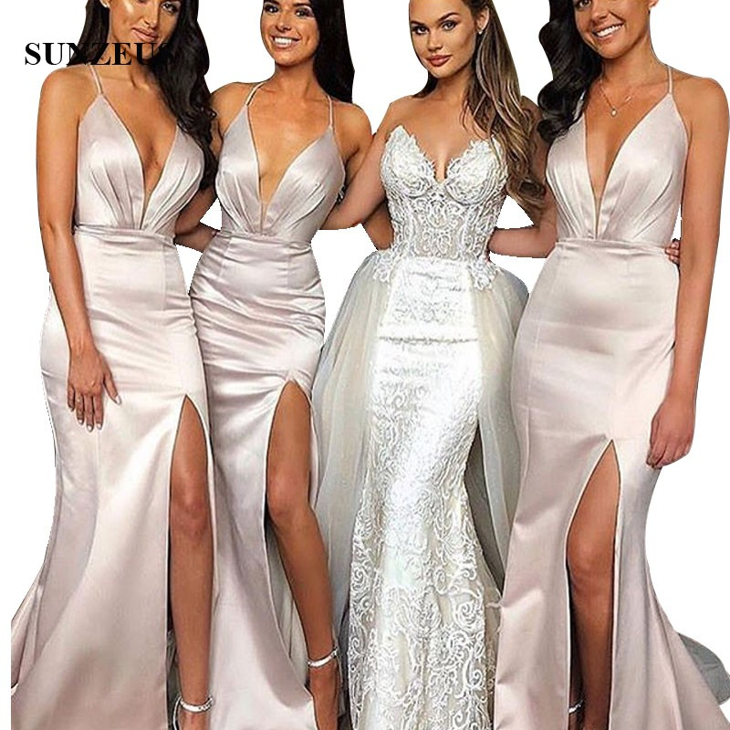 Robe De Chambre Femme Mermaid Spaghetti Straps V-neck Sexy   Bridesmaid     Dresses   Side Slit Long Satin Women Party Gowns For Wedding