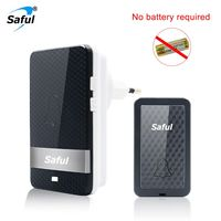 Saful Self Powered Waterproof Wireless Doorbell 28 Rings EU US 100M With 1 Button 1 Receiver