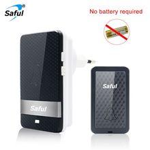 Saful sonnette sans fil auto alimentée, sans batterie, étanche, portée 150M, prise EU/AU/US/UK, carillon de porte bouton poussoir pour personnes âgées