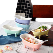 Creative Ceramic Bathtub Shape Rice Soup Bowl Candy Color Dessert Bowl Pudding Bowl Ice Cream Cup Fruit Tray Cute Dinnerware 1pc