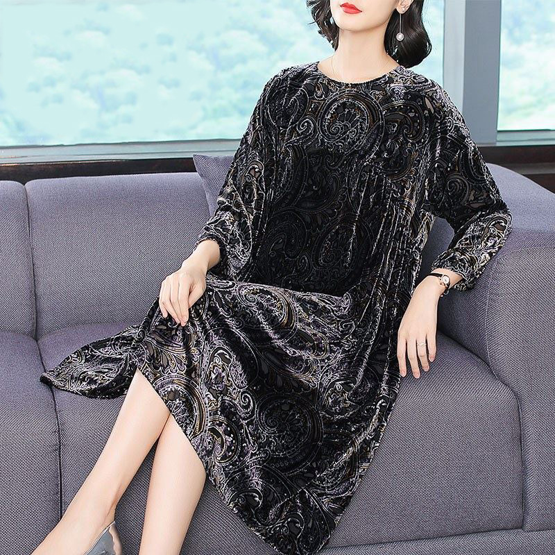 dddd317231180 Indian Sari style gown 3 Quarter Sleeve black Tunic Printed Top Women loose  Dress Daily party clothing Arabic costume