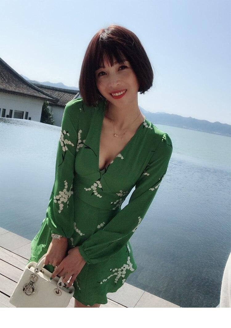 Cou 100 Green Silm V Peint Longues Partie Pour Soie Vert Vacances Robes Sexy Femmes À Mini D'été Manches Foncé De Et La Robe fprFBnfq