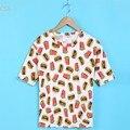 Mujeres del verano camiseta ocasional niña Harajuku plátano hamburguesa camisetas impresas básico Tops 18