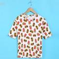 Women Summer Casual T Shirt Girl Harajuku Banana Hamburger Printed T-Shirts Basic Tops 18