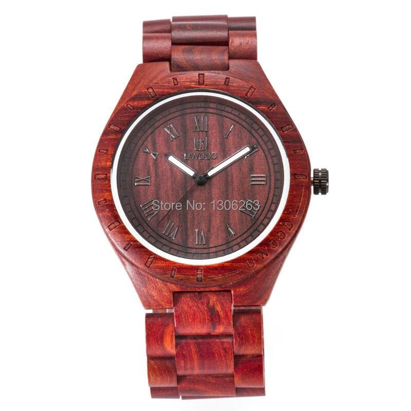 Nauji laikrodžiai Mediniai vyrai juodi sandalmedžio diržai - Vyriški laikrodžiai - Nuotrauka 2