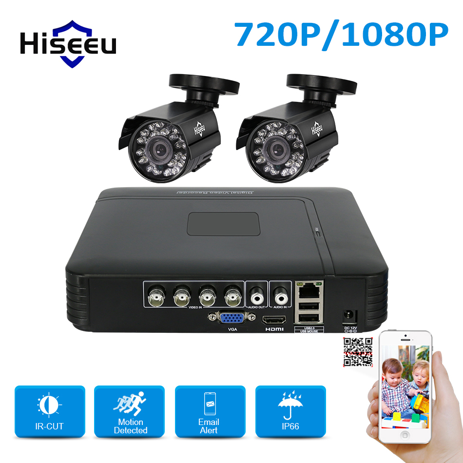 Hiseeu HD 4CH 1080N 5in1 AHD DVR Kit CCTV-System 2 stücke 720 P/1080 P AHD wasserdichte/dome IR Kamera 2MP P2P Sicherheit Überwachung Set