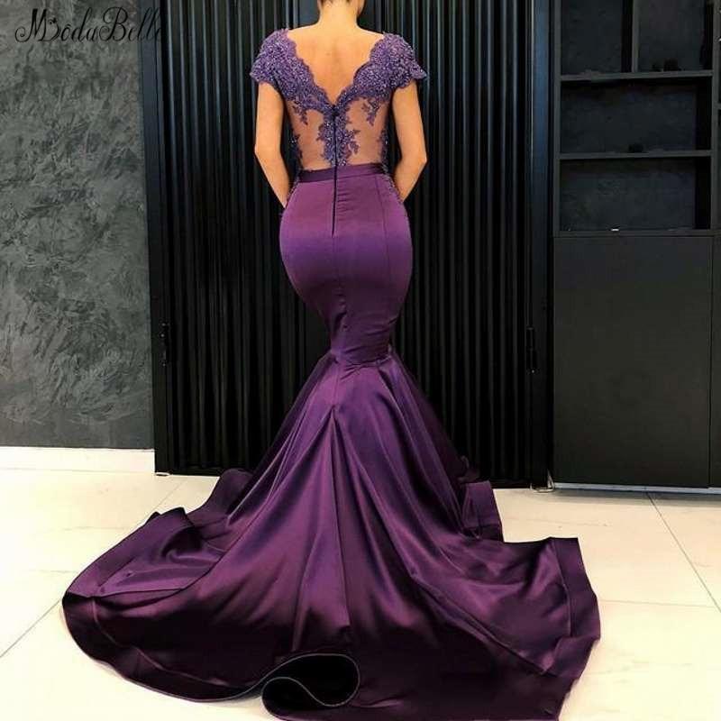 Lila Prom V Gala Meerjungfrau Kleid Abiti Sera Modabelle 2019 Purple Lange Kurzen Da ausschnitt Ärmeln Abendkleid Mit Vestido Cerimonia 5Hpgxw