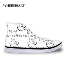 WHEREISART 2019 New Vulcanize Shoes Casual Women Coffee Cup Cafe Printed Shoes Simple Design Womens High Tops Sneakers Studnets