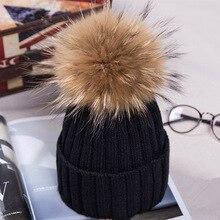 Adofeeno модные Мех животных помпоном зимняя Шапки для Для женщин трикотажные шапочки Кепки девушка шерстяная шапка Фирменная Новинка Pom Hat