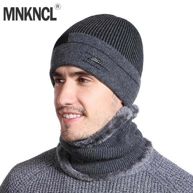 MNKNCL Winter Beanies Men Scarf Knitted Hat Cap Mask Gorras Bonnet Warm  Baggy Winter Hat For 939632cdfc6