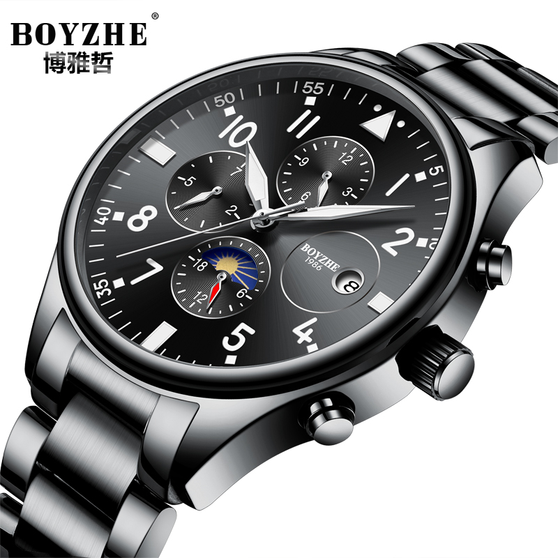 BOYZHEN luminous Moon Phase Watch Men Stainless Steel Waterproof Automatic Mechanical Watches Male Calendar Montre Homme 2018 цена