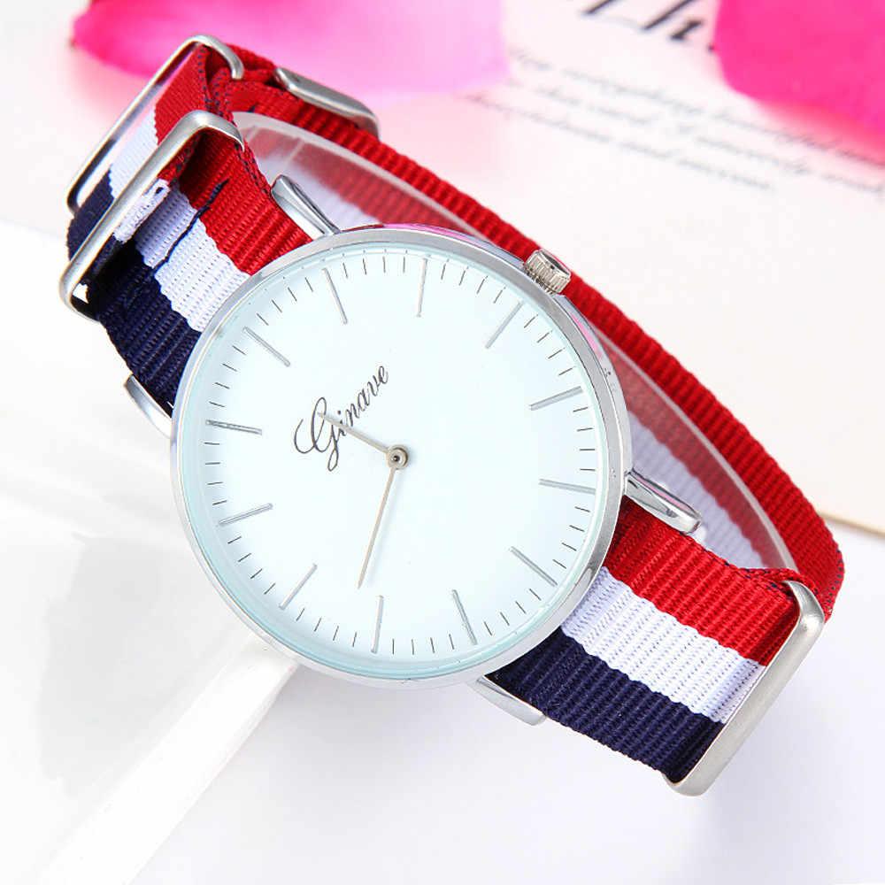 Simple Fashion Design Geneva Brand Casual Watch Woman men Thin Dial Siamese Colorful Canvas Band Analog Quartz Wrist Watch#77