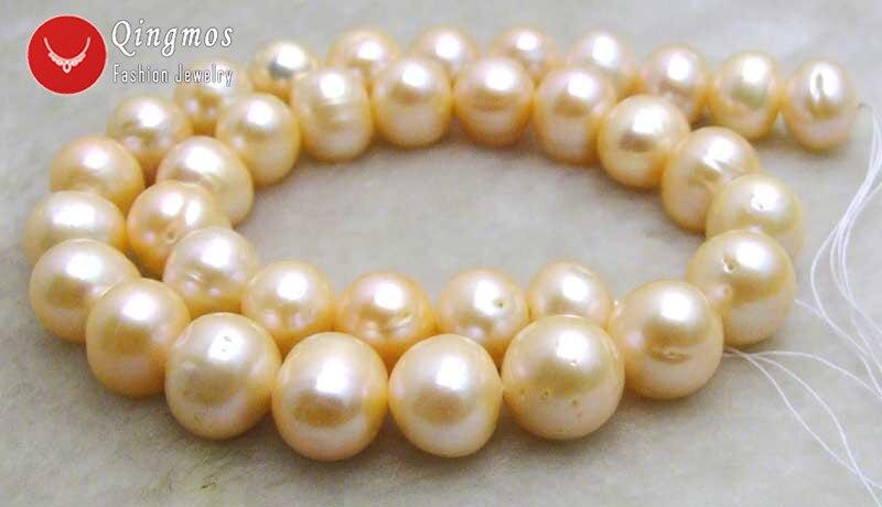 Qingmos 12 13mm perlas blancas cuentas sueltas para hacer joyas con perlas de agua dulce redondas naturales hebras 14 los45 envío gratis - 3