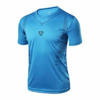 LUCKY SAILING Men Quick Dry Wicking Running T Shirts Breathable Sports Fitness Gym Shirt Tops