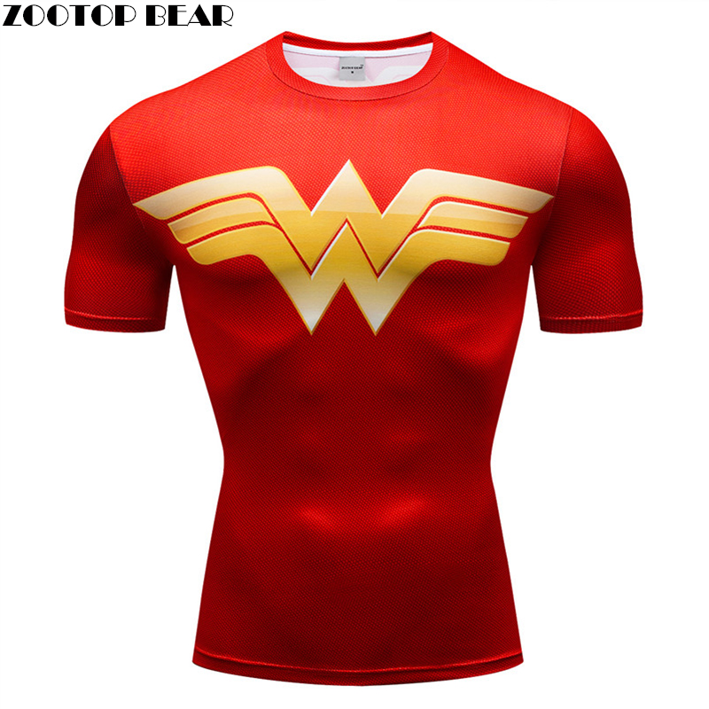 Exercise Men T shirts Super Hero Fitness Breathable Bodybuilding Male Compression 3D Print Shirts Quick Dry Short Sleeve Fitness