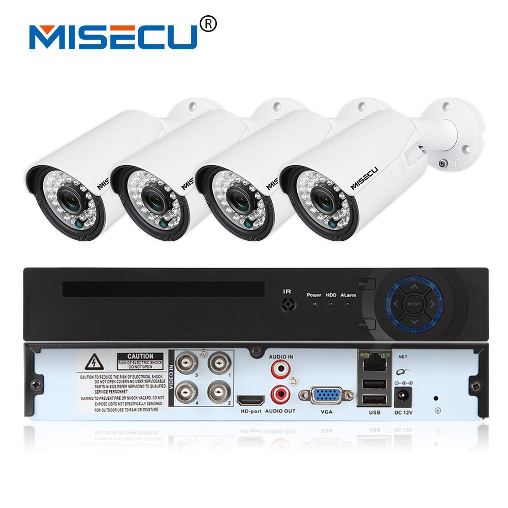 MISECU AHD 4CH VGA HDMI 1080P 4pcs 720P 24LEDs IR Night vision 1300TVL IR Weatherproof CCTV Camera Security System vga 4ch color cctv security camera quad processor remote control