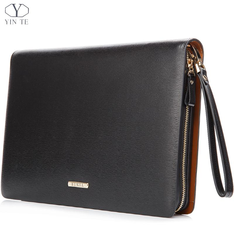 YINTE Vintage A4 Black Leather Padfolio Men's Business Management Contract Document Bag Manager File Folder Portfolio T5481