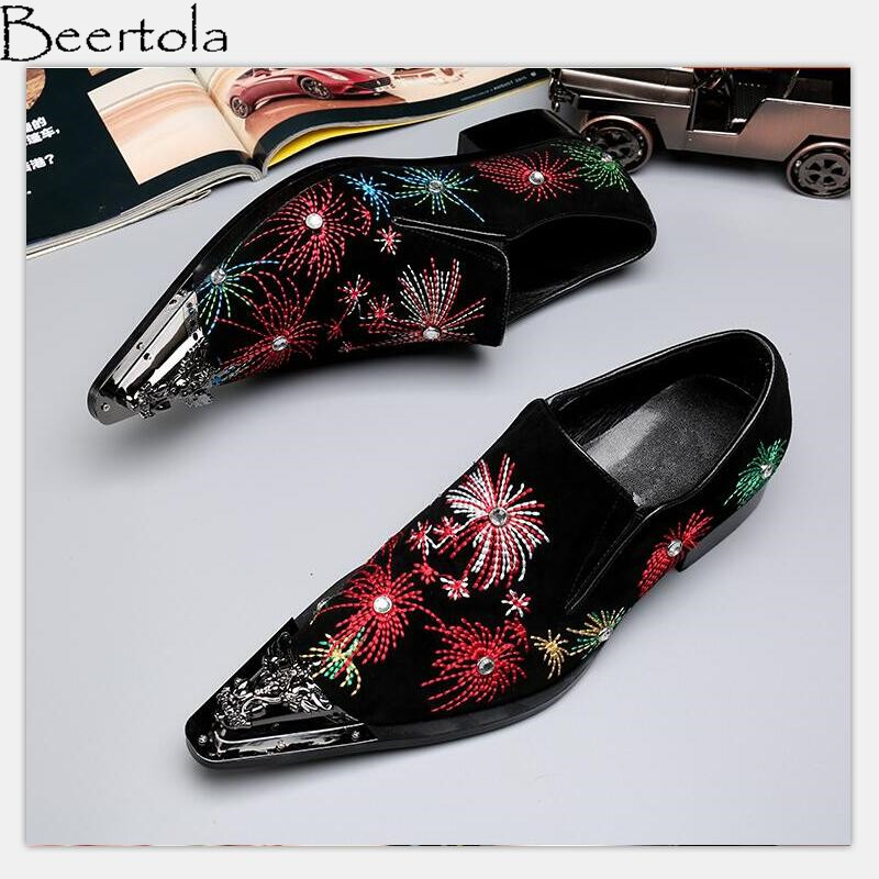 Beertola Real Leather Mens Casual Shoes Embroiderd Gorgeous Fireworks Crystal Metal Decoration Slip On Loafers Handmade Shoes High Quality Goods Shoes