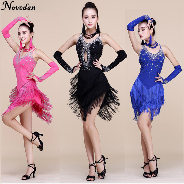 a2ea11f28 New Fringe Latin Dance Dresses Women/Girls Sexy Long Skirt Ballroom/Tango/ Rumba