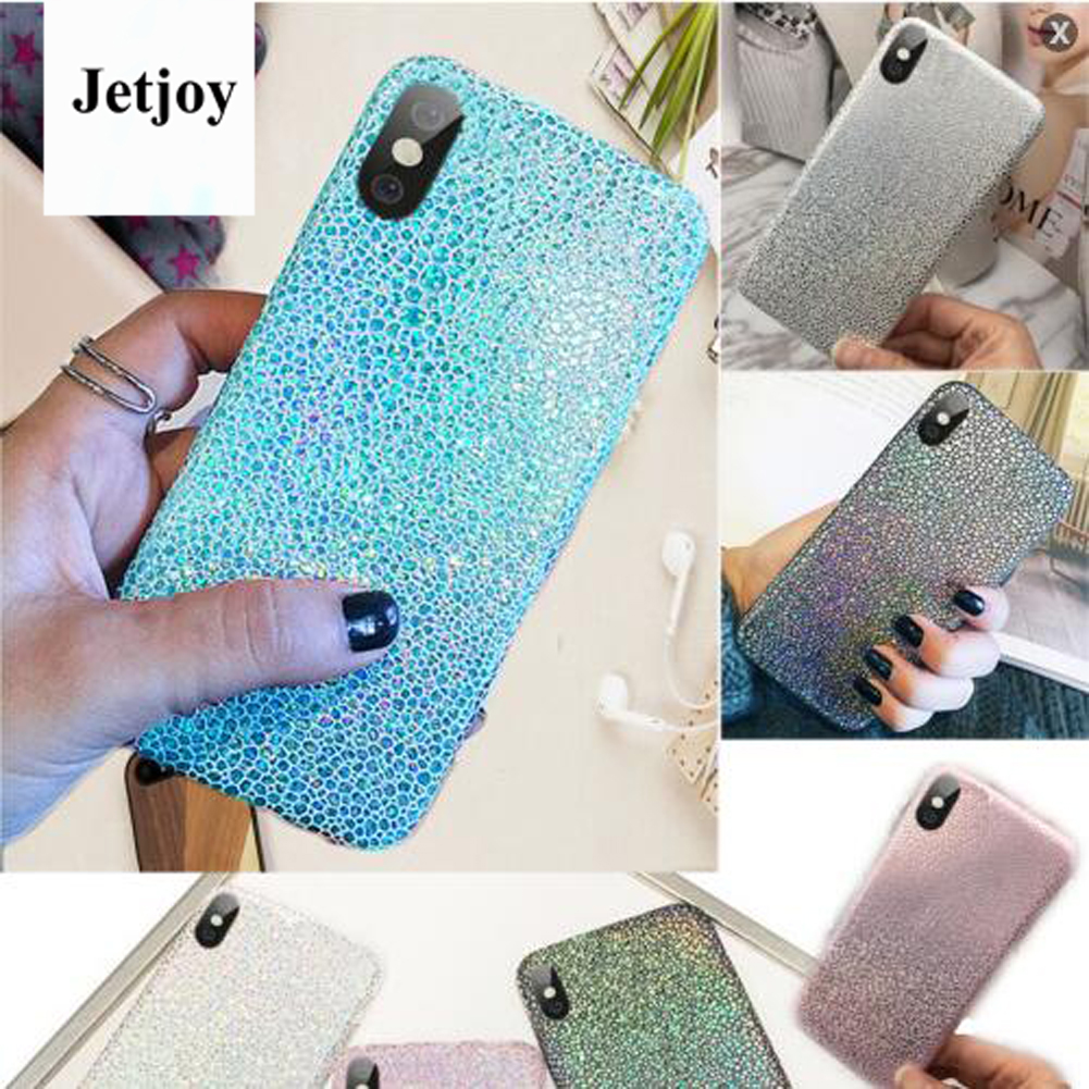 JETJOY Pearlescent Shining Glossy Finished Plain Hard Cases Flexible Shock Resistant For Apple iPhone X ten 10 Cover Cases Funda