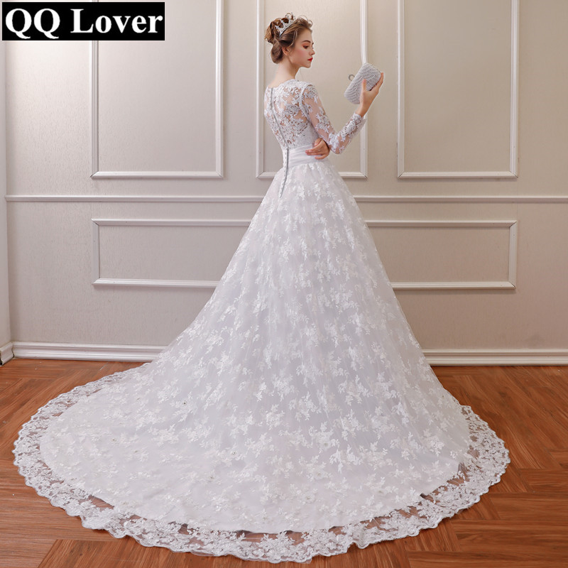 QQ Lover 2019 Luxury Train Vestido De Noiva Long Sleeve Lace Wedding Dress With Flowers Sexy V-neck Wedding Gowns