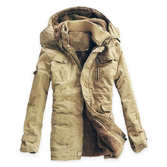 Плюс Размер M-5XL Новые мужские Тонкий Длинный 100% Хлопок толстые Зима Снег Теплая Куртка Из Искусственного Меха Пальто Ветровки, 4 Цвета, FZC01, Бесплатная корабль