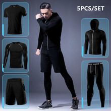 Gym Sport Suit Men's Running Sets Fitness Sportswear Quick Dry Basketball Tights Running Compression Underwear Tracksuit Clothes(China)