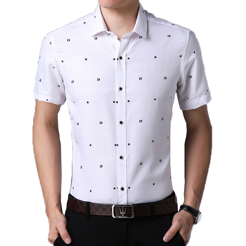 2018 New Arrival Brand Mens Summer Business Shirt Short Sleeves Turn-down Collar Smart C ...
