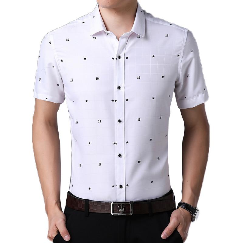2018 New Arrival Brand Mens Summer Business Shirt Short Sleeves Turn-down Collar Smart Casual Shirt Men Shirts Big Size 4XL