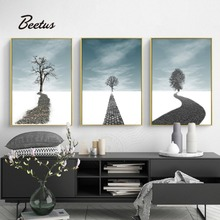 Nordic Landscape Canvas Painting Posters And Print Modular Picture For Living Room Bedroom Unframed