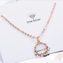 New Fashion Rose Gold 925 Silver Chain Necklaces For Women Exquisite Colorful Full Zircon Flower Pendant Necklace Female Jewelry exquisite zircon butterfly pendant necklace for women jewelry fashion rose gold lady necklace silver 925 accessories female gift