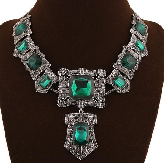 Marca de lujo de la joyería turca moda verde esmeralda cristal Vintage cuentas africanas collar bisutería