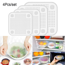 4Pcs/set Stretchy Bowl Cover Silicone Suction Lid-bowl Cooking Pot lid Stretch Lid Dishware Kitchen Tool