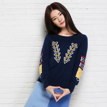 2016 New  Ladies T-shirt cashmere sweater knitting pattern pointed Arrow Sen female pullover shirt Tops Qulity Clothing