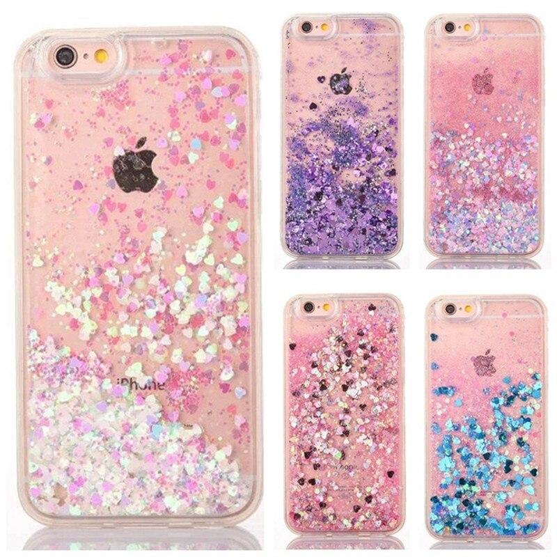 Glitter Love Heart Liquid Case sFor Coque iphone 8 7 6s