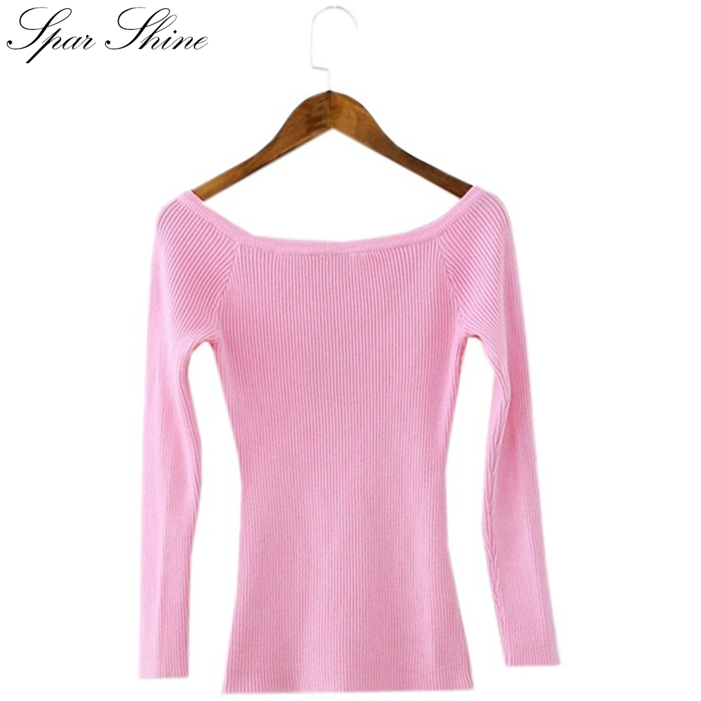 2016 autumn winter elegant off shoulder knitted sweater women short pullover slim jumper casual - Top sexy femme ...