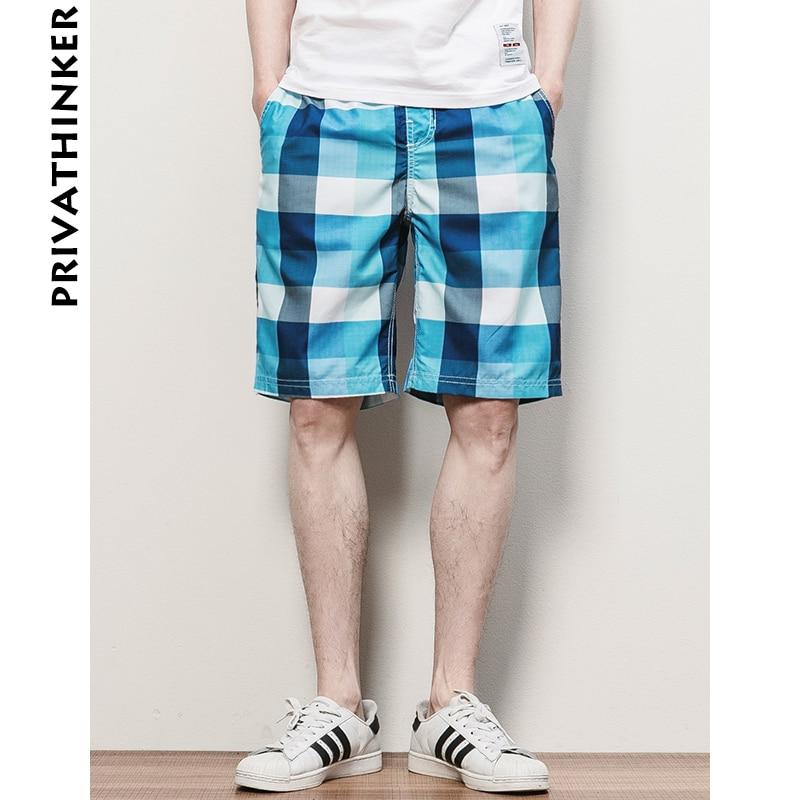 Privathinker Mens Shorts Summer Korean Casual Shorts Men Plaid Shorts Male Elastic Band Short 2018 New