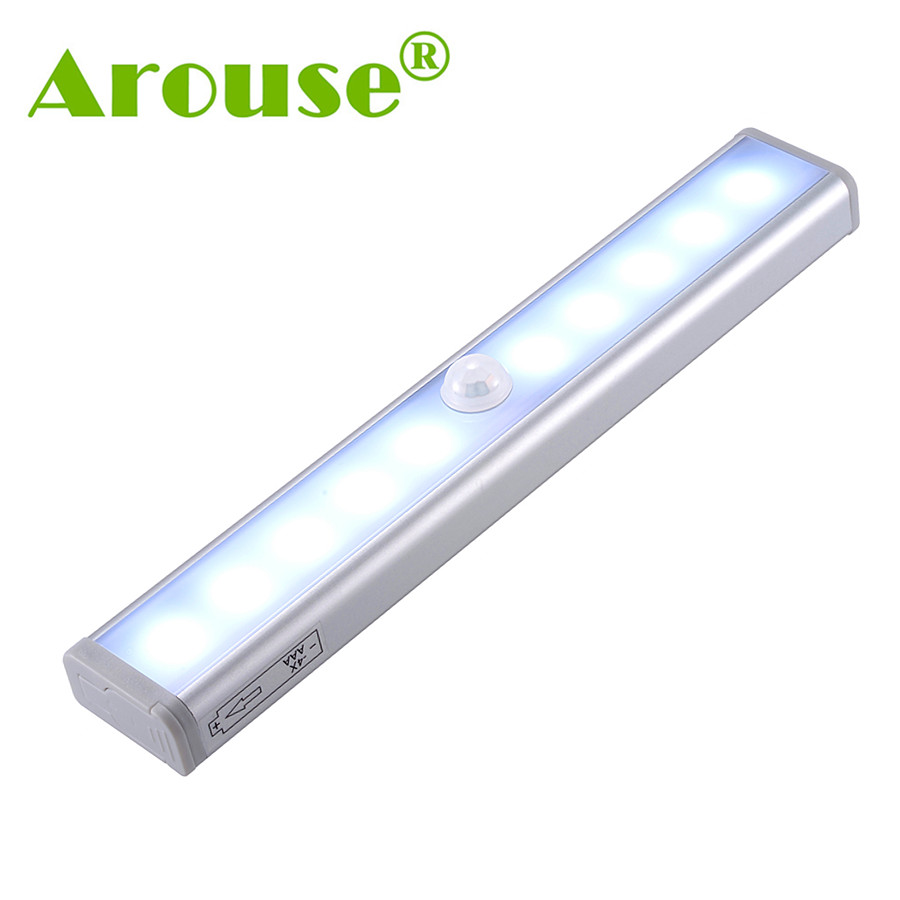 AROUSE Night Light Motion Sensor Lights 10 LEDs Wireless LED Closet Lights Battery Operated for Closets Stairway Cupboard AR-01