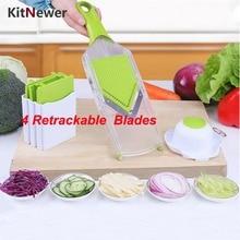 Mandolinenschneider Gemüse Cutter mit 4 Edelstahl Klinge Karottenreibe Zwiebel Dicer Hobel Küche Zubehör