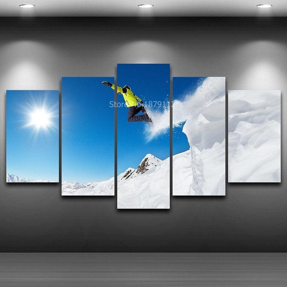 Extreme Sport Skifahren Moderne Malerei Durch Druck Auf Leinwand Auf ...