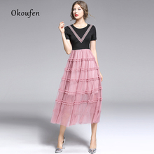 купить 2019 summer new women's tide Korean fashion round neck thread short sleeve stitching pink gauze dress дешево