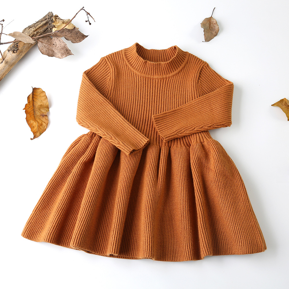 2018 Autumn Winter Girls Wool Knitted Sweater Baby Girl dress Girls Dresses For Party And Wedding