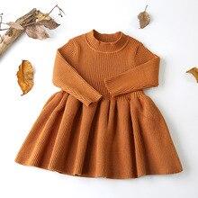 2018 осенне-зимний шерстяной вязаный свитер для девочек, платье для маленьких девочек, вечерние и свадьбу, одежда для маленьких девочек