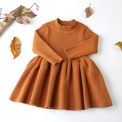2018 Autumn Winter Girls Wool Knitted Sweater Baby Girl dress Girls Dresses For Party And Wedding Baby Girl Clothes