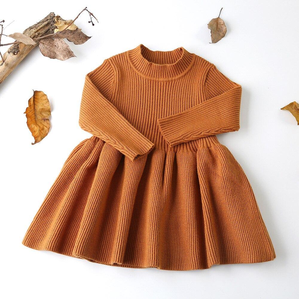 2018 Otoño e Invierno de lana de las niñas, suéter de bebé chica vestido niñas vestidos para fiesta y boda ropa de bebé niña