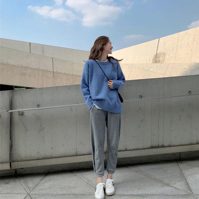 Pantalon blue Ensemble pièce Al181102 Automne Nouveau Femmes Lâche Paresseux Et Mode Gray Printemps De Vent Black Deux Harem Green Occasionnel Chandail XqHOxZ1