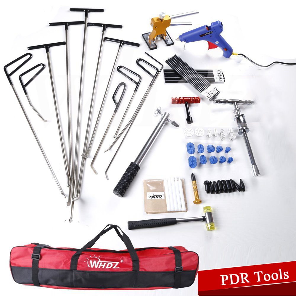 Auto Body Dent Removal Pdr Rod Tool Kit - Door Ding Repair Starter Set PDR Slide Hammer Gule Gun Dent Hammer Tap Down