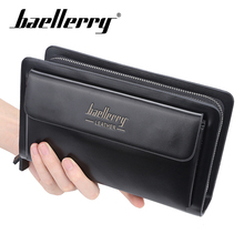 Baellery PU Men Clutch Wallets Double Zipper Large Capacity Leather  Hand Strap Men Wallet Luxurious Business Solid Male Purses недорого